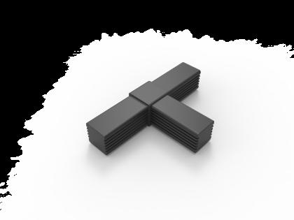 SquareFix 25 3-wegstuk vlak 180º/90º